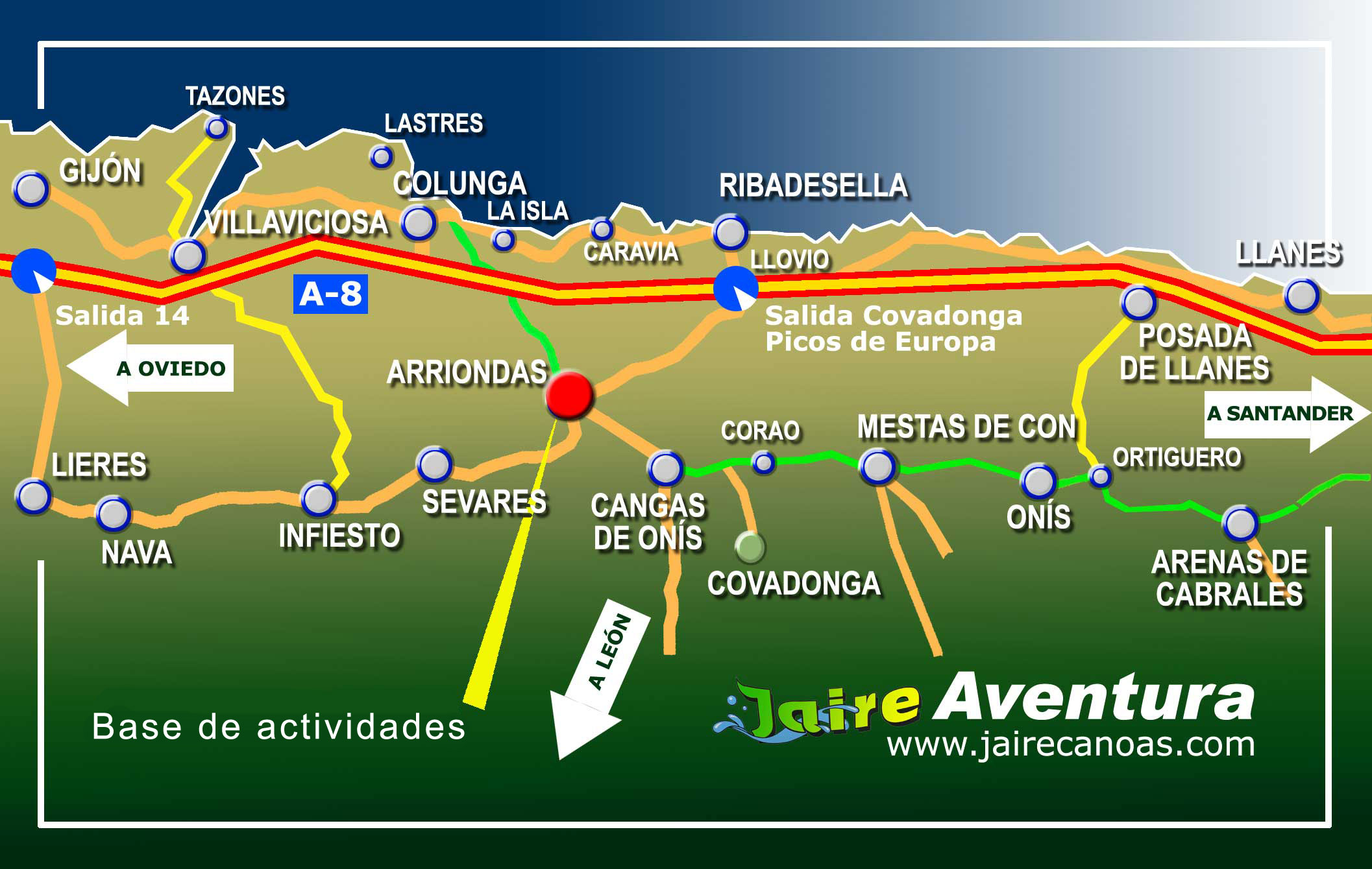 Mapa Turistico De Asturias Y Cantabria.Como Llegar A Jaire Aventura